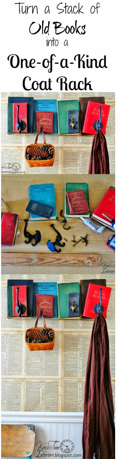 Turn a stack of old books into a unique coat rack. Tutorial at KnickofTime.net