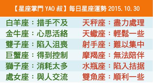 【星座掌門YAO叔】每日星座運勢2015.10.30