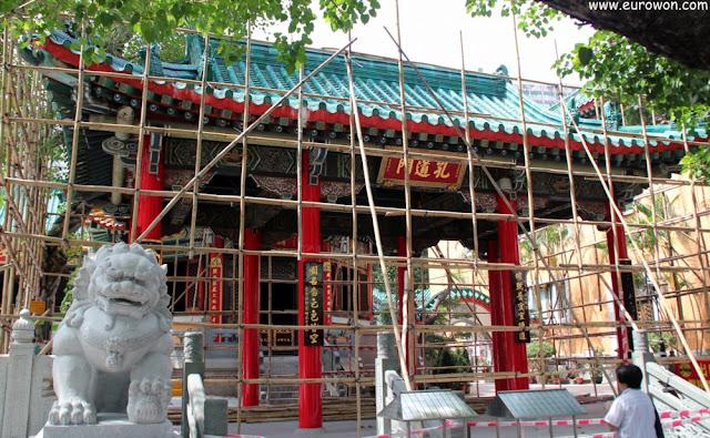 León en el templo Wong Tai Sin de Hong Kong