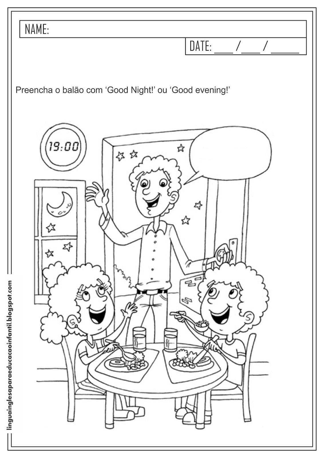 Atividade Educativa de Inglês - Saudações.