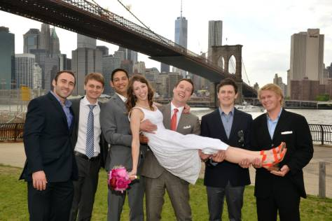 Bride Lying across Groomsmen - Brooklyn Bridge Park