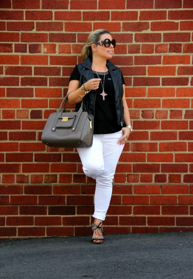 White Pants from Zara, Black T-shirt from TJ Maxx, Black Vest from my closet, Bag - 3.1 Phillip Lim from Target Collection, Prada Baroque Round from Nordstrom, Accessories from TJ Maxx, Ferrucci Shoes from Brazil