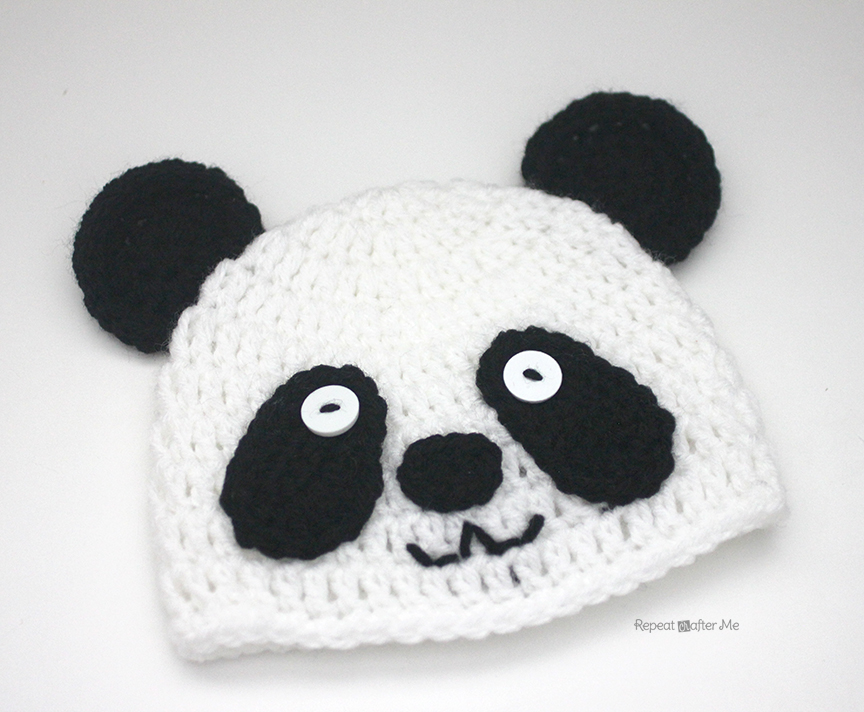 Crochet Panda Bear Hat - Repeat Crafter Me