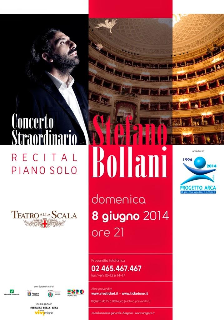 stefano bollani recital solo pianoforte alla Scala di Milano domenica 8 giugno