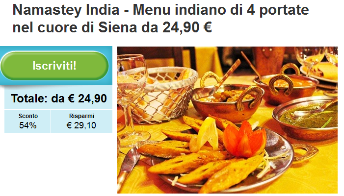 http://www.groupon.it/deals/siena/namastey-india-1/38805784?utm_source=ogniricciounpasticcio&utm_medium=blogger&utm_campaign=promocode