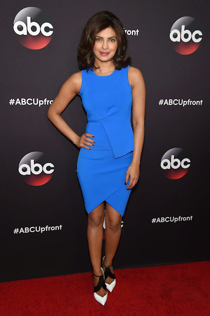 Priyanka Chopra Looks Sexy In Blue Figure Hugging Dress As She Attends The 2015 ABC Upfront At Avery Fisher Hall, Lincoln Center In New York