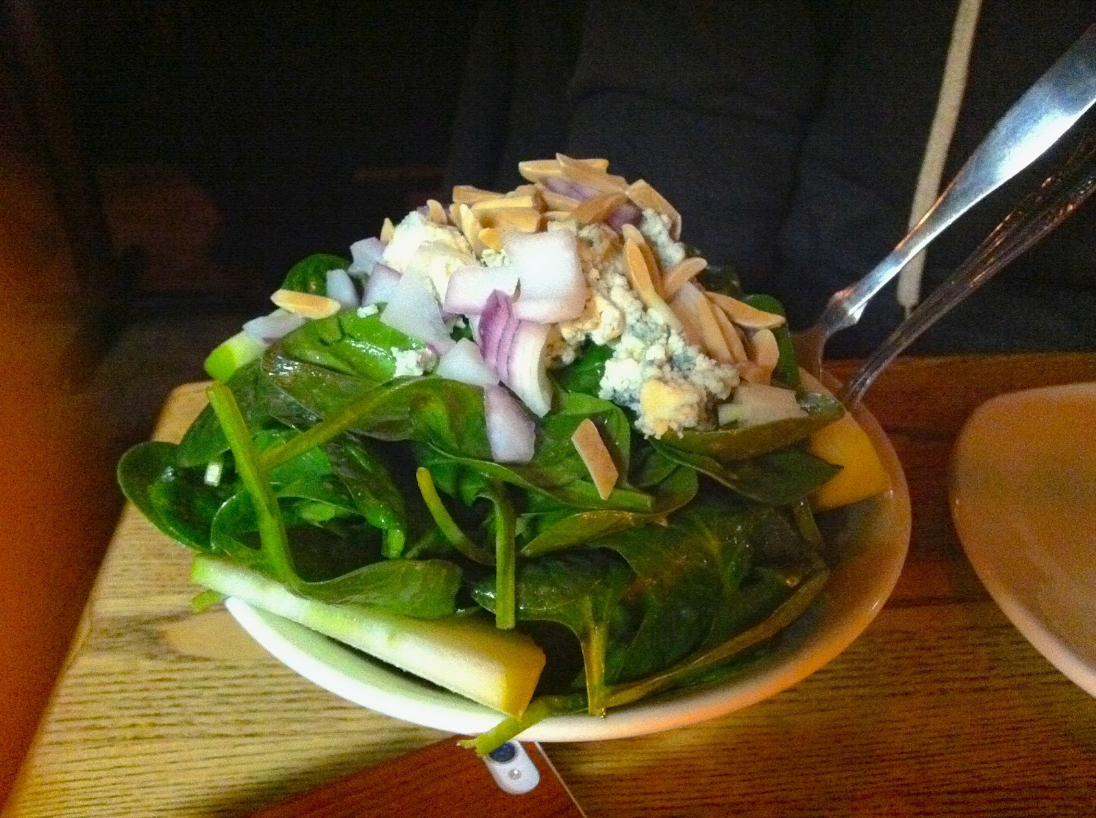 Salad with baby spinach, Granny Smith apple, red onion, gorgonzola ...