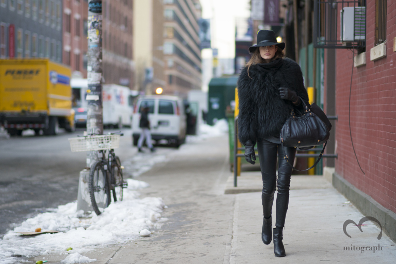 Model Elodia Prieto leaves NYFW  Reed Krakoff 2014 Fall Winter Show at New York Fashion Week