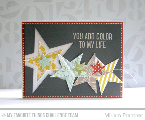 You Add Color Card by Miriam Prantner featuring the Laina Lamb Designs Stay Tuned stamp set and Pierced Star STAX Die-namics