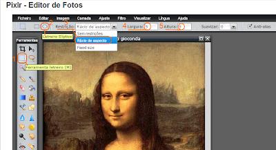 Usar a ferramenta letreiro do Pixlr e definir corte redondo
