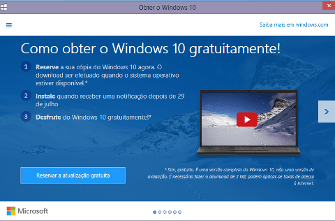 reserva do windows 10