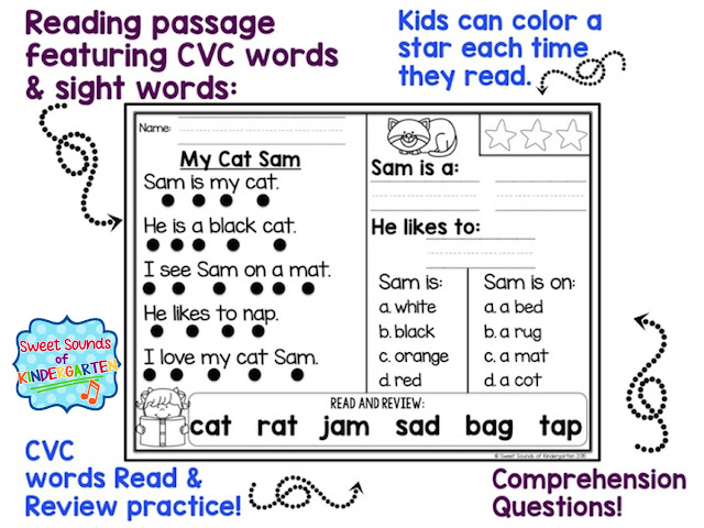 The Primary Pack: Kindergarten Reading Comprehension Passages ...