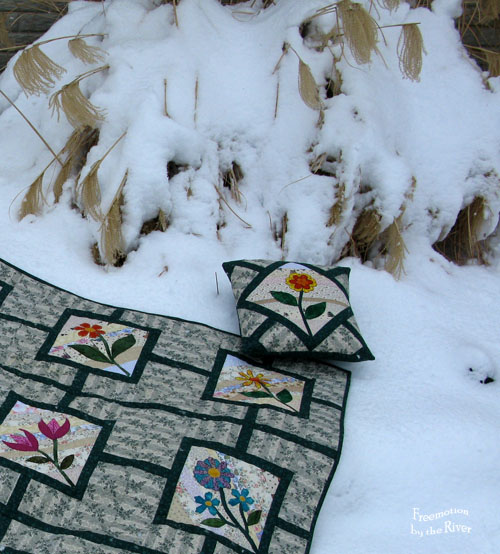 Garden Maze quilt and snow bush at Freemotion by the River