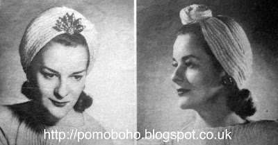 Free 1940's Knitting pattern for a women's Montreal Turban