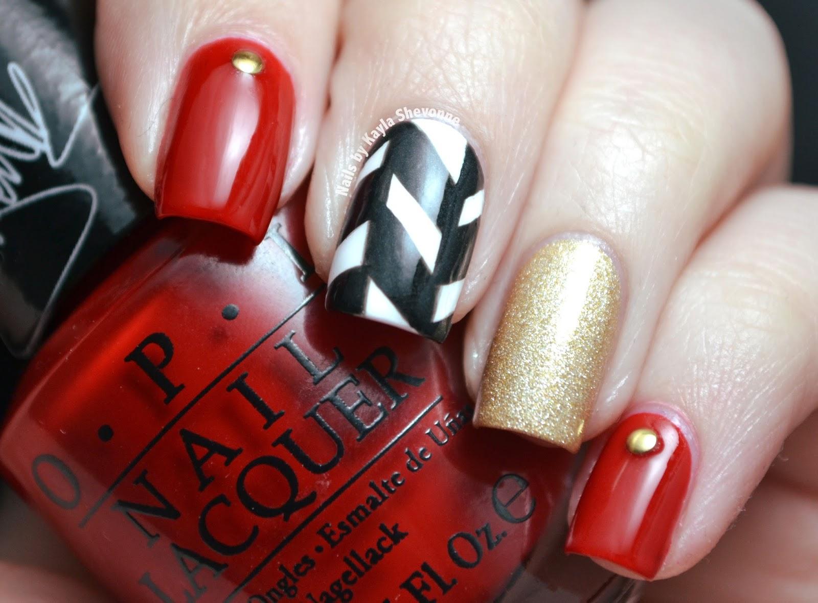 Nails by Kayla Shevonne: Herringbone & Studs - OPI Gwen Stefani Nail Art