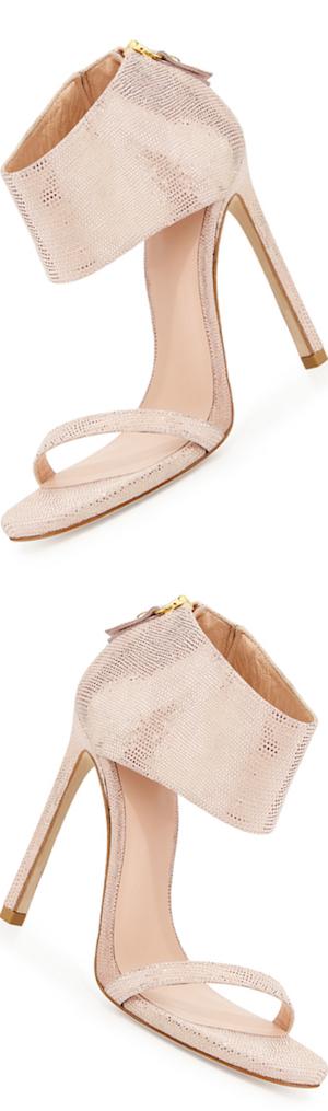 Stuart Weitzman Showgirl Ankle-Cuff Sandal, Flesh