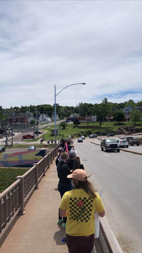 Juneteenth march on bridge Friday, June 19
