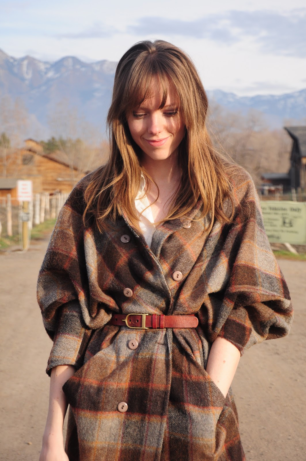 Belted Plaid Coat