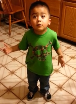 3 years old boy argue with his mum over cupcakes for dinner