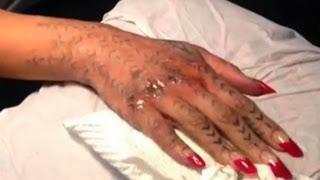Rihanna gets Maori tattoo hammered onto hand
