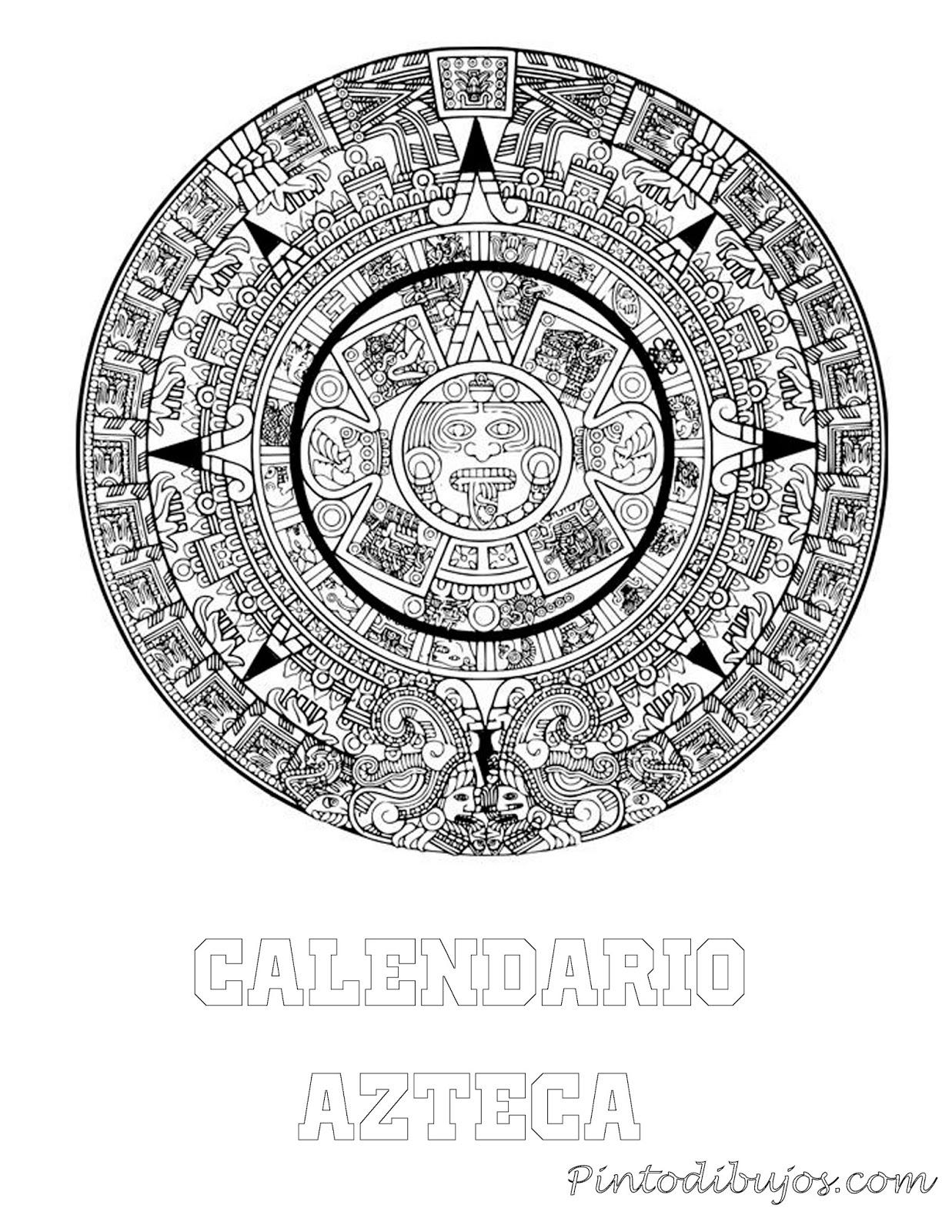 Calendario Azteca para colorear