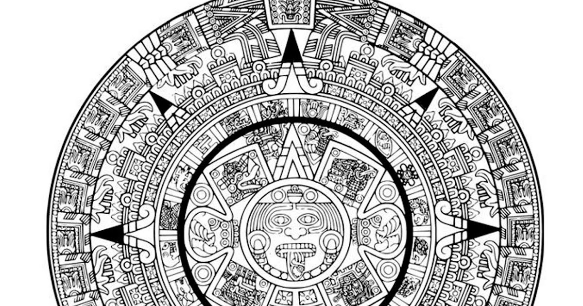Único Colorear Calendario Azteca Friso - Dibujos Para Colorear En ...