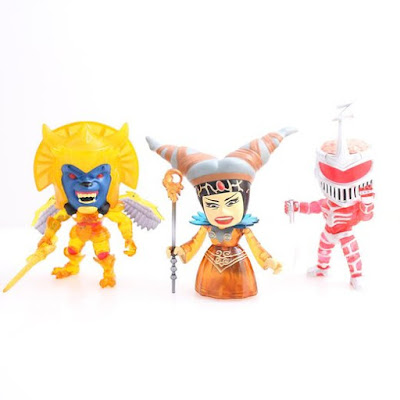 "Hastings Exclusive Mighty Morphin Power Rangers ""Crystal Edition"" Villains Mini Vinyl Figure 3 Pack by The Loyal Subjects - Rita Repulsa, Lord Zedd & Goldar"