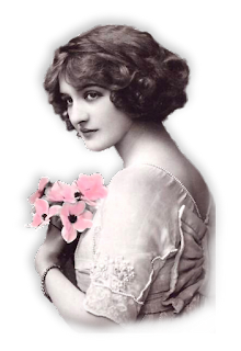 dama vintage con flores