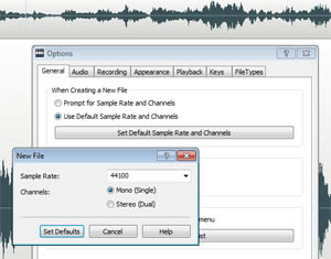 Set audio sample rate in WavePad audio editing software