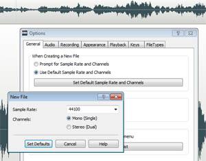 Set audio sample rate in WavePad audio editing software