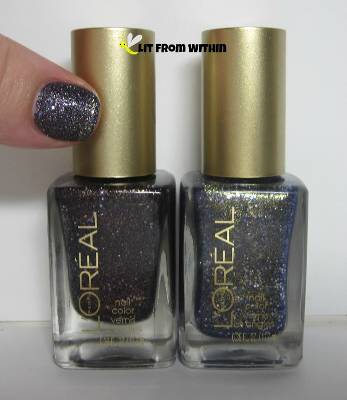 Bottle shot:  L'Oreal Gold Dust textured polishes Sexy In Sequins and Too Dimensional?