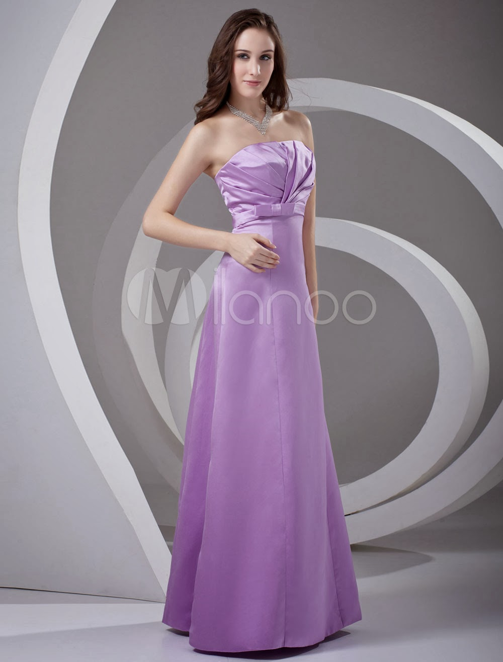 Strapless Ruched Satin Lavender Elegant Bridesmaid Dress