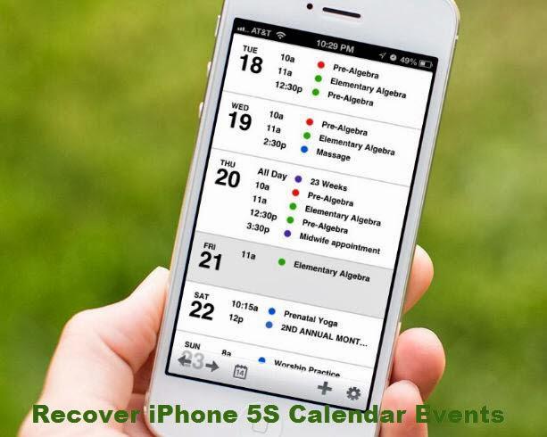 restore calendar events frm iPhone 5s