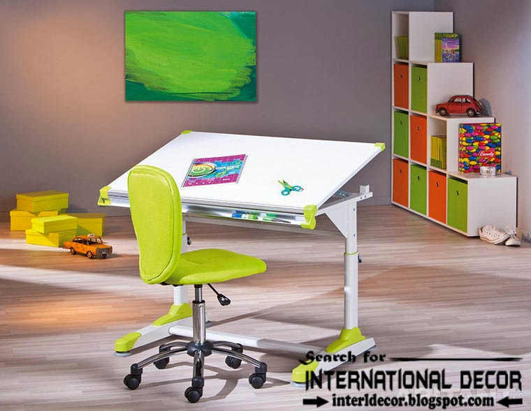 creative study space for kids room, study desk, chair and bookcase ideas