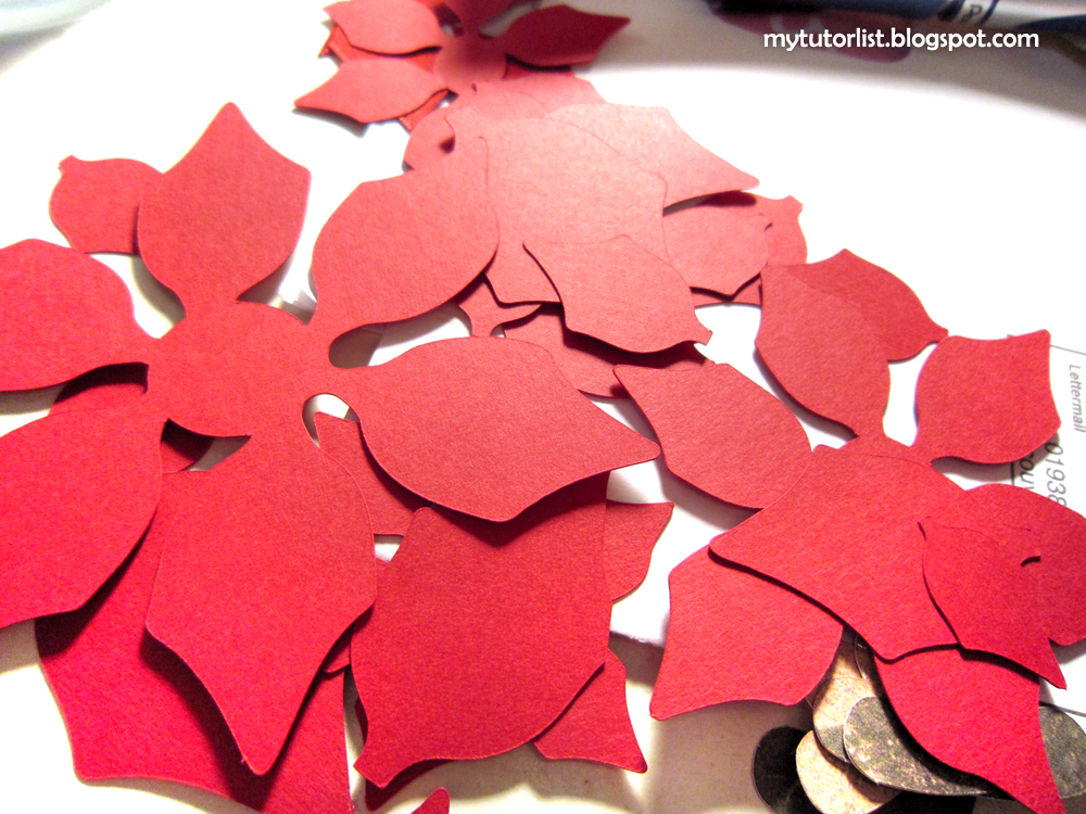 Water distressed paper poinsettias tutorial behind mytutorlist to start cut out your poinsettia flower petals and leaf shapes mightylinksfo