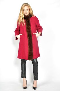Vintage 1960's cranberry colored wool coat with brown mink fur trim