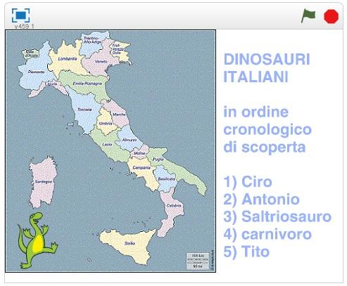 Gioco sui dinosauri italiani con Scratch