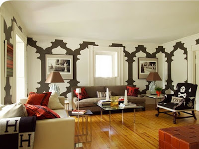 large pattern wall decor in living room