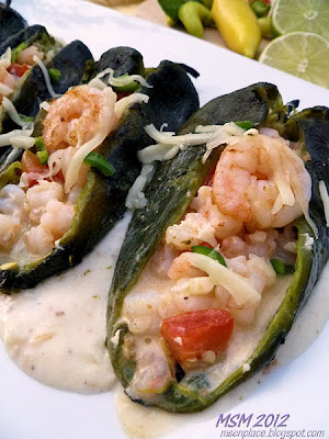 Cheese & Shrimp Stuffed Poblanos