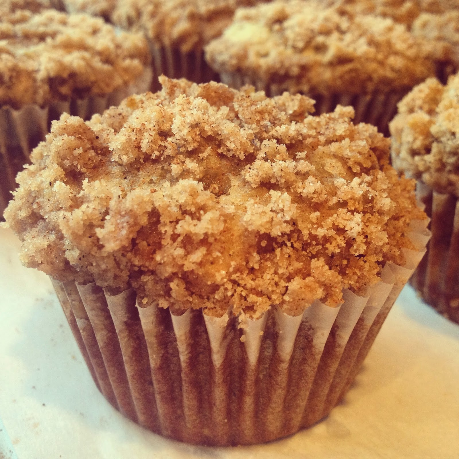 ... and baked goods: banana walnut muffins with cinnamon crumb topping