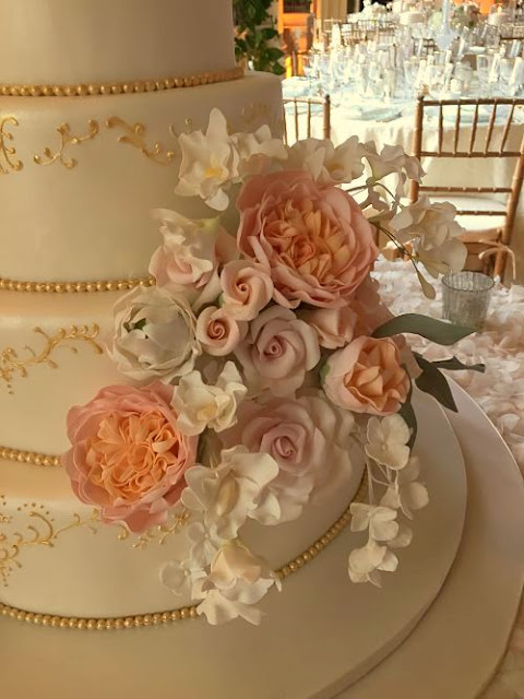 Custom wedding cake with sugar flowers