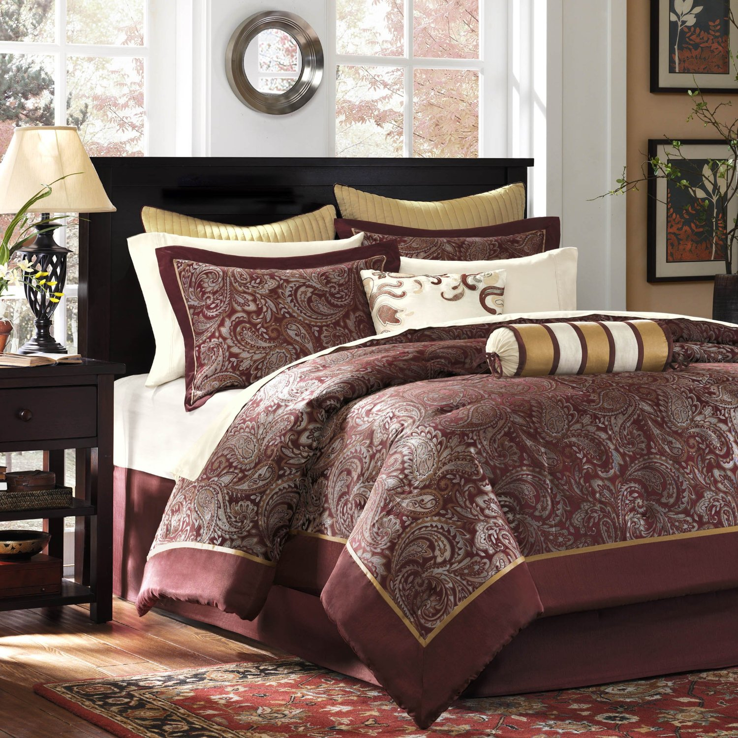 Burgundy comforter bedding sets - Bedroom sheets and comforter sets ...