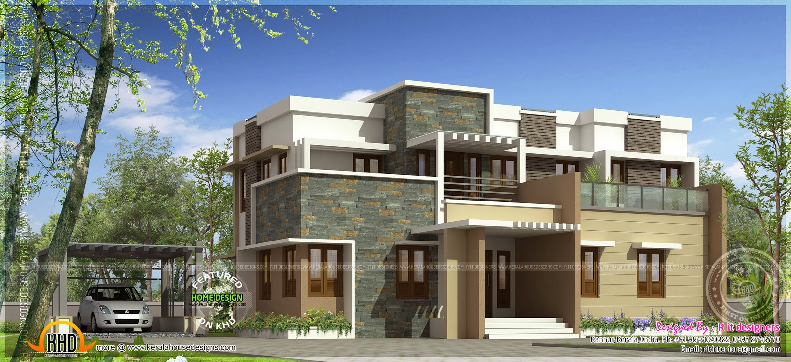 Modern flat roof house with 4 bhk kerala home design and Modern flat roof house designs