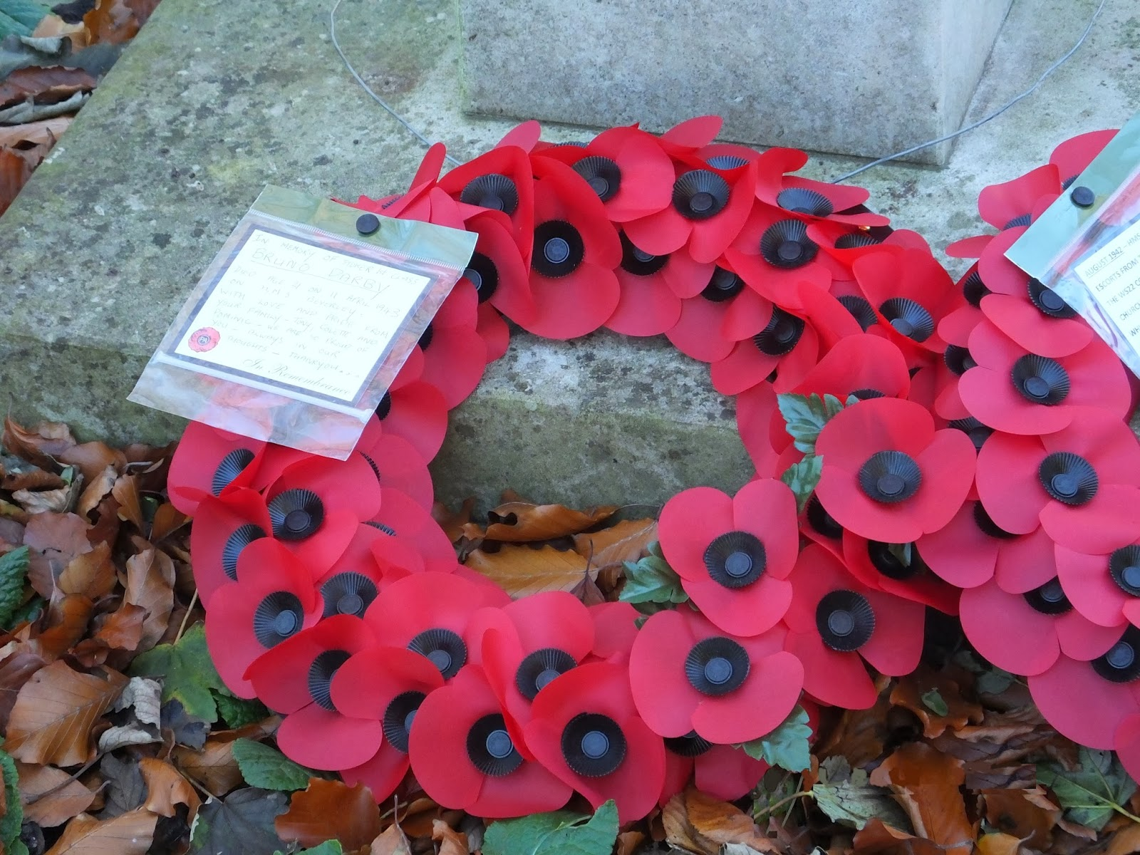 Poppy wreath laid at the HMS Beverley memorial