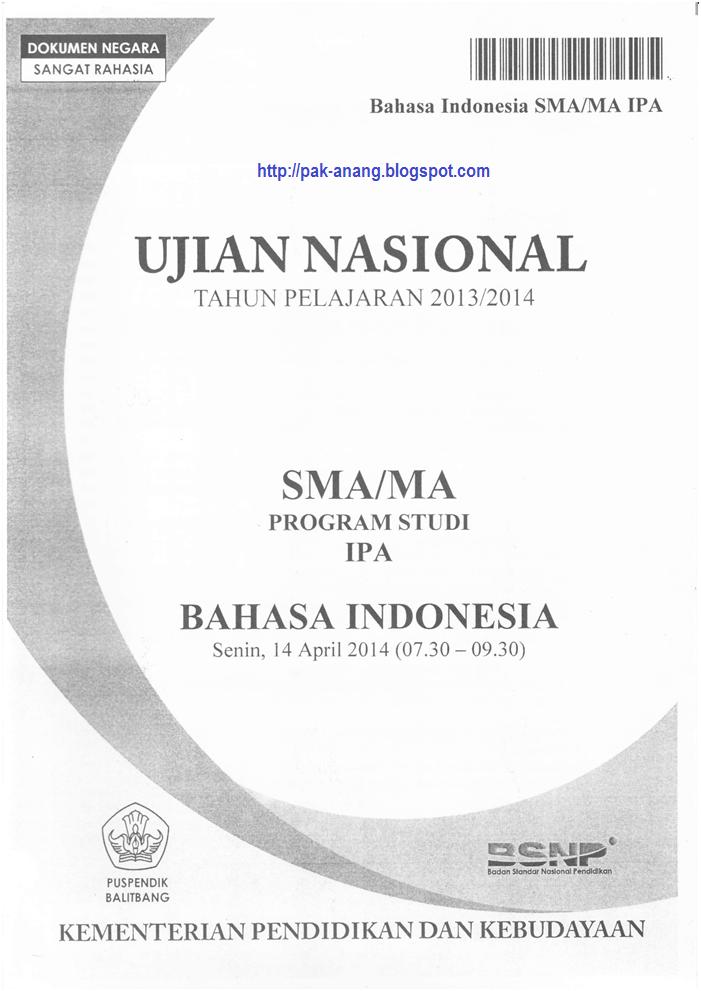Infogtk Naskah Soal Un Bahasa Indonesia Sma 2016 Paket 1