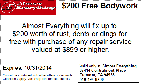 Coupon $200 Free Bodywork Discount October 2014