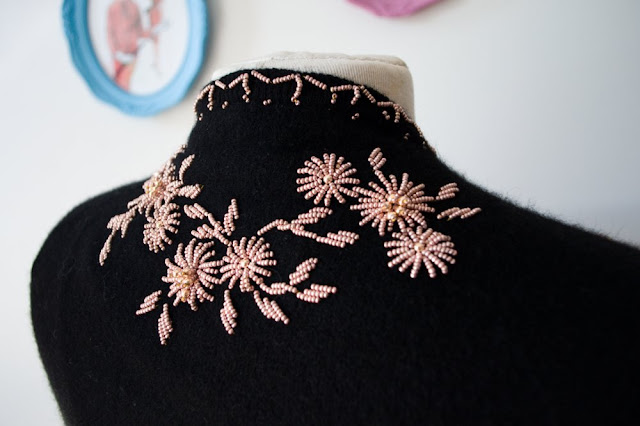 vintage 50s beaded sweater by Hsu Brothers at Vintage Follies