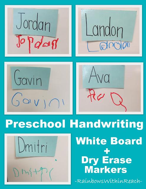 photo of: Preschool fine motor development, Sign-in system