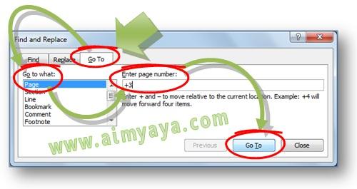 Gambar: Cara membuka atau menuju halaman tertentu menggunakan dialog Find and Replace di Microsoft Word