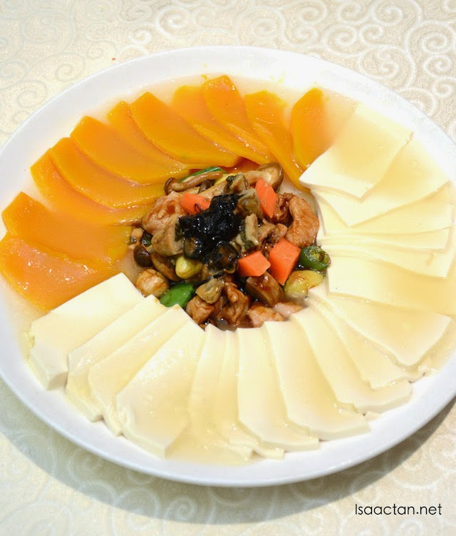 Braised Seasonal Vegetables, Bean Curd, and Dried Oyster with Pumpkin Puree